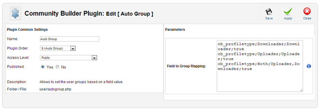 Auto Group plugin settings