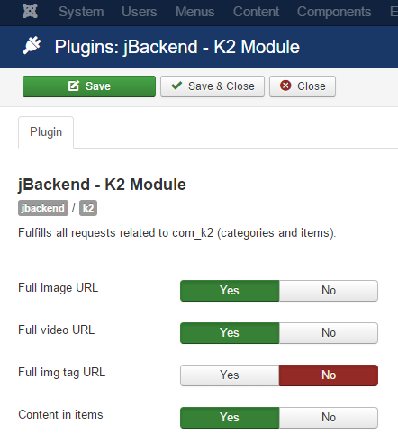 jBackend K2 Plugin Settings