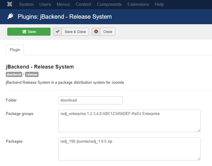 jBackend Release System Plugin Settings