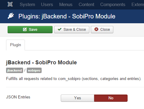 jBackend SobiPro Plugin Settings