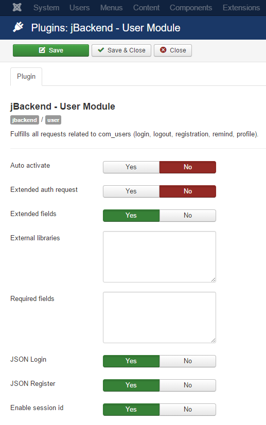 jBackend User Plugin Settings