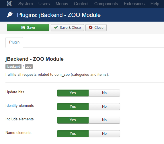 jBackend ZOO Plugin Settings